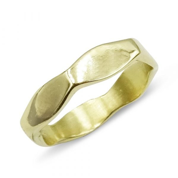 Hexagon Shaped Gold Band 14ct