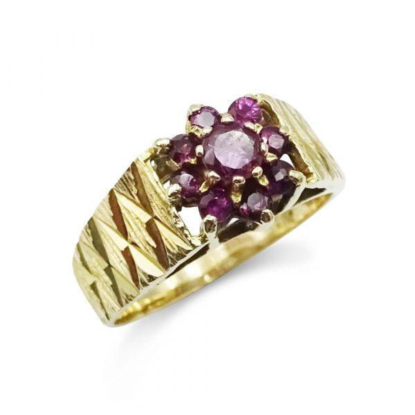 9ct Amethyst Vintage Cluster Ring