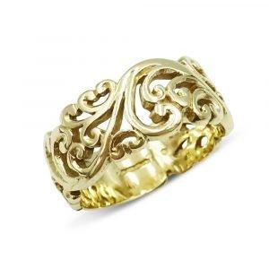9ct Vintage Floral Cut Wide Ring