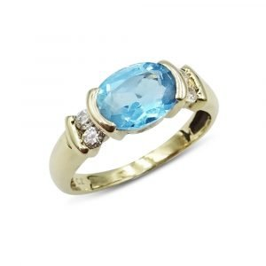 9ct Blue Stone Oval Ring