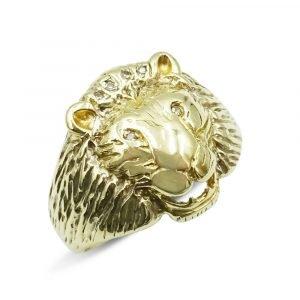 Diamond Lion Ring Gold