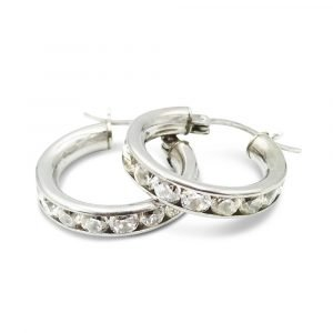 White Gold CZ Hoops