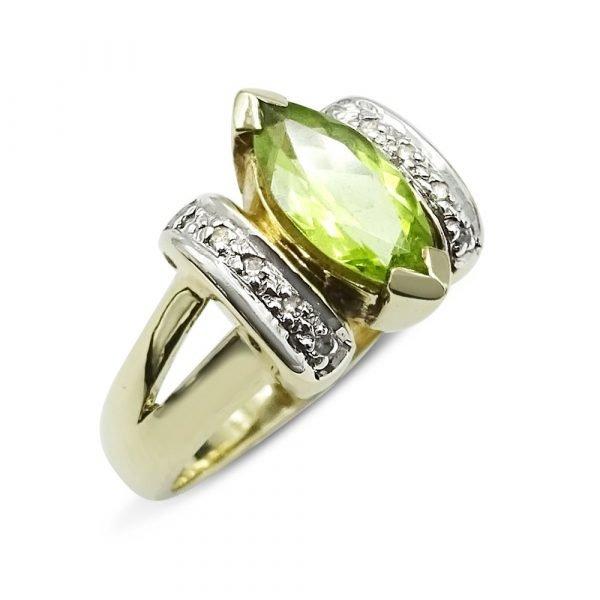 Peridot Diamond 9ct Gold Ring
