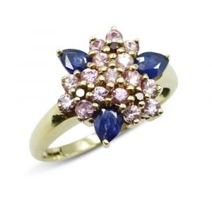 9ct Sapphire Pink Stone Cluster Ring