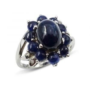 White Gold Cabochon Sapphire Diamond Ring