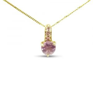 9ct Gold Pink Stone Pendant Chain