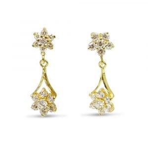 22ct Gold Cluster Drop Earrings
