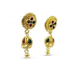 22ct Gold Indian Enamel Drop Studs