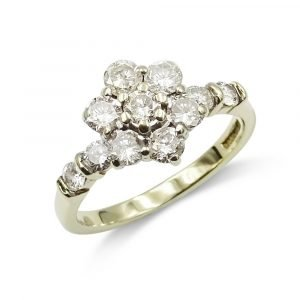 0.90ct Diamond Cluster Ring 9ct Gold