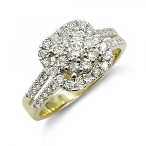Diamond Cluster Engagement Ring 0.84ct