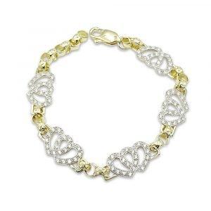 9ct Gold Heart Bracelet Cubic Zirconia
