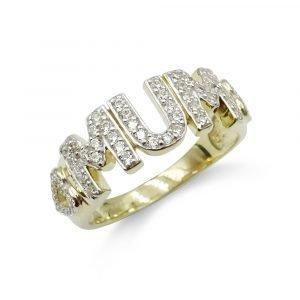 9ct Gold Mum Cubic Zirconia Ring