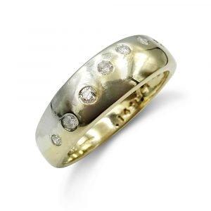 9ct Gold Rubover Diamond Fancy Ring