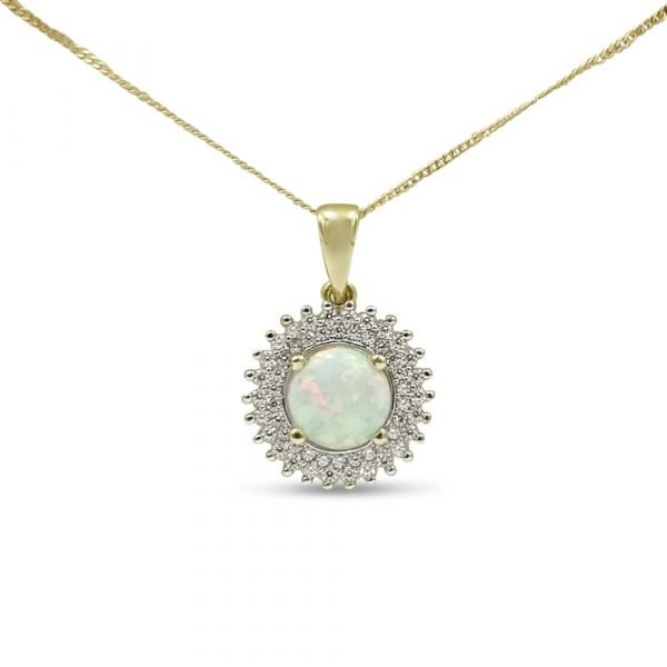 9ct Created Opal Round Pendant